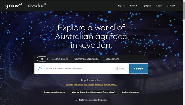 growAG, the Australian agrifood innovation research portal, is now live